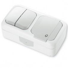Блок 2-х клавішний вимикач + розетка з заземленням viko Palmiye